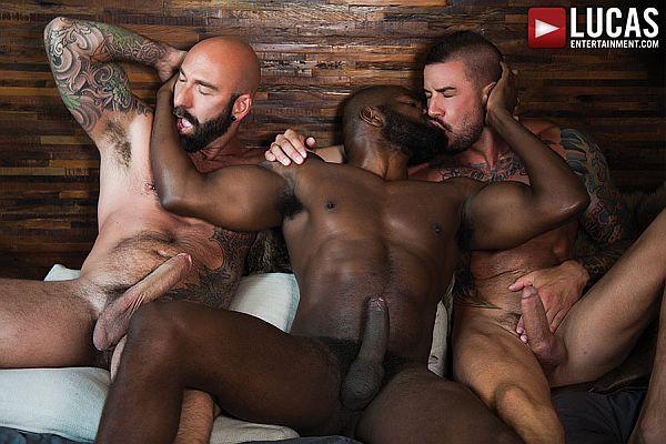 Interracial deep sucking of huge cock